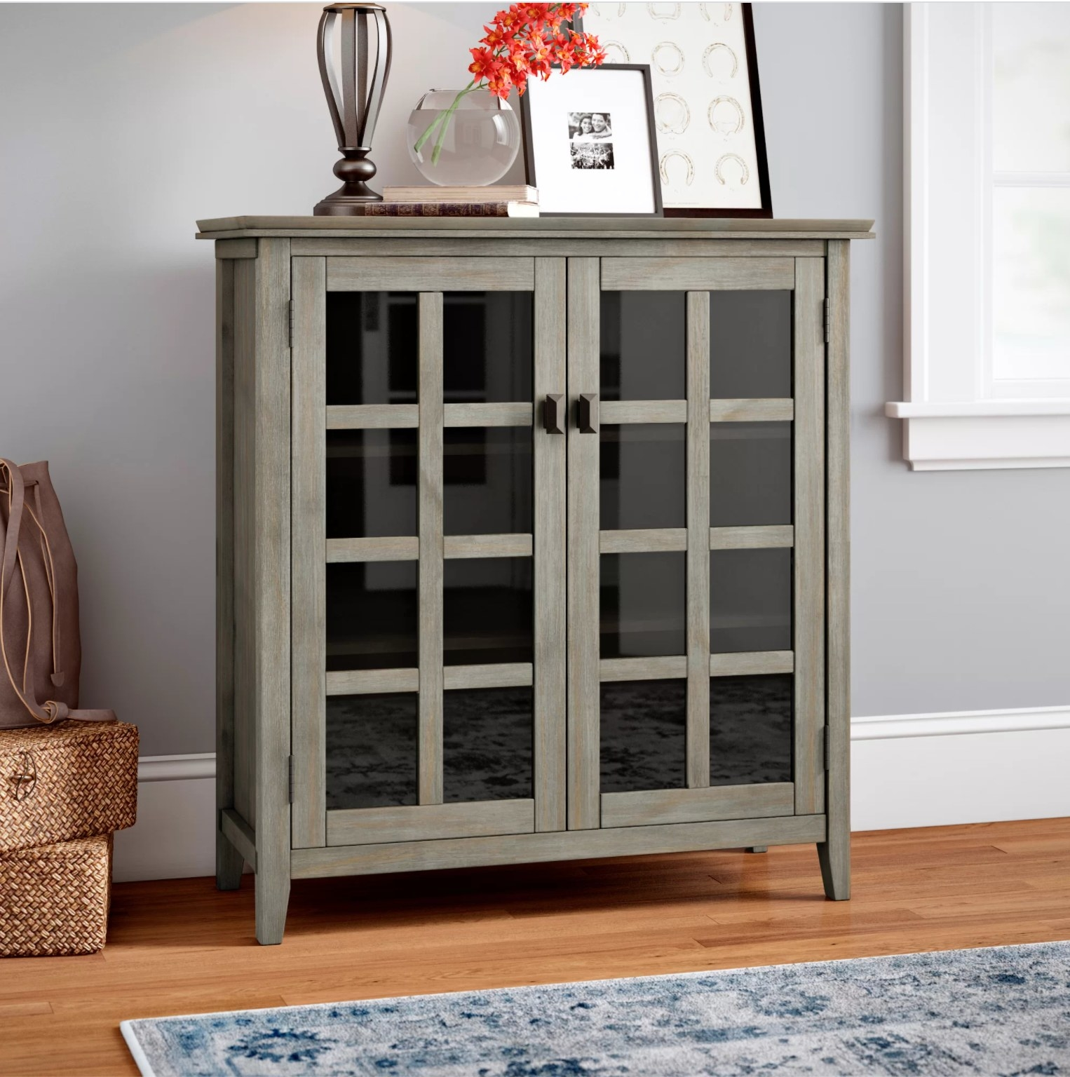 The cabinet in distressed gray