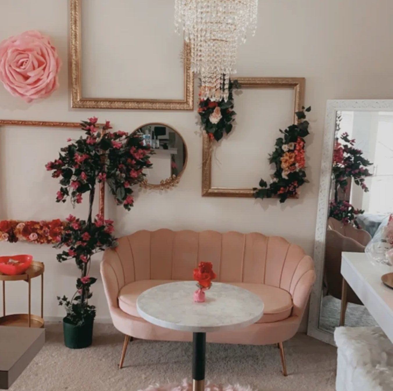 The loveseat in pink
