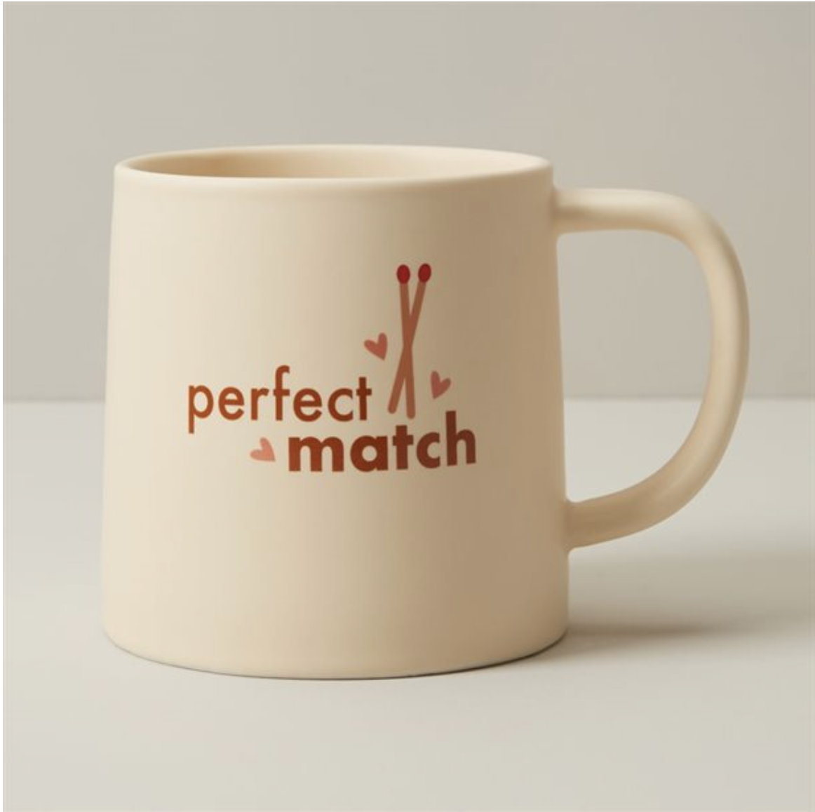 the mug that says perfect match with a picture of two matches