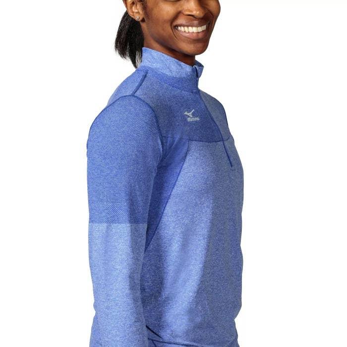 The Mizuno quarter zip in blue