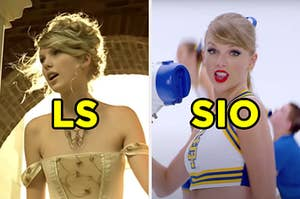 """On the left, Taylor Swift in the """"Love Story"""" music video labeled """"LS,"""" and on the right, Taylor Swift in the """"Shake It Off"""" music video labeled """"SIO"""""""