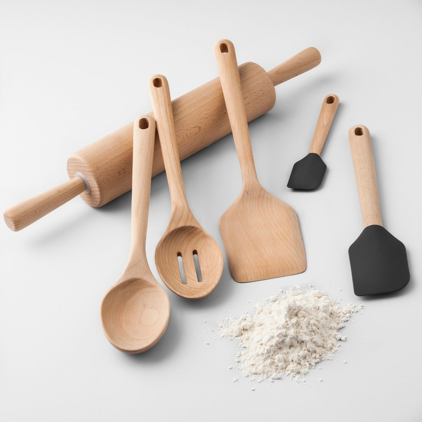 A beechwood set including a rolling pin