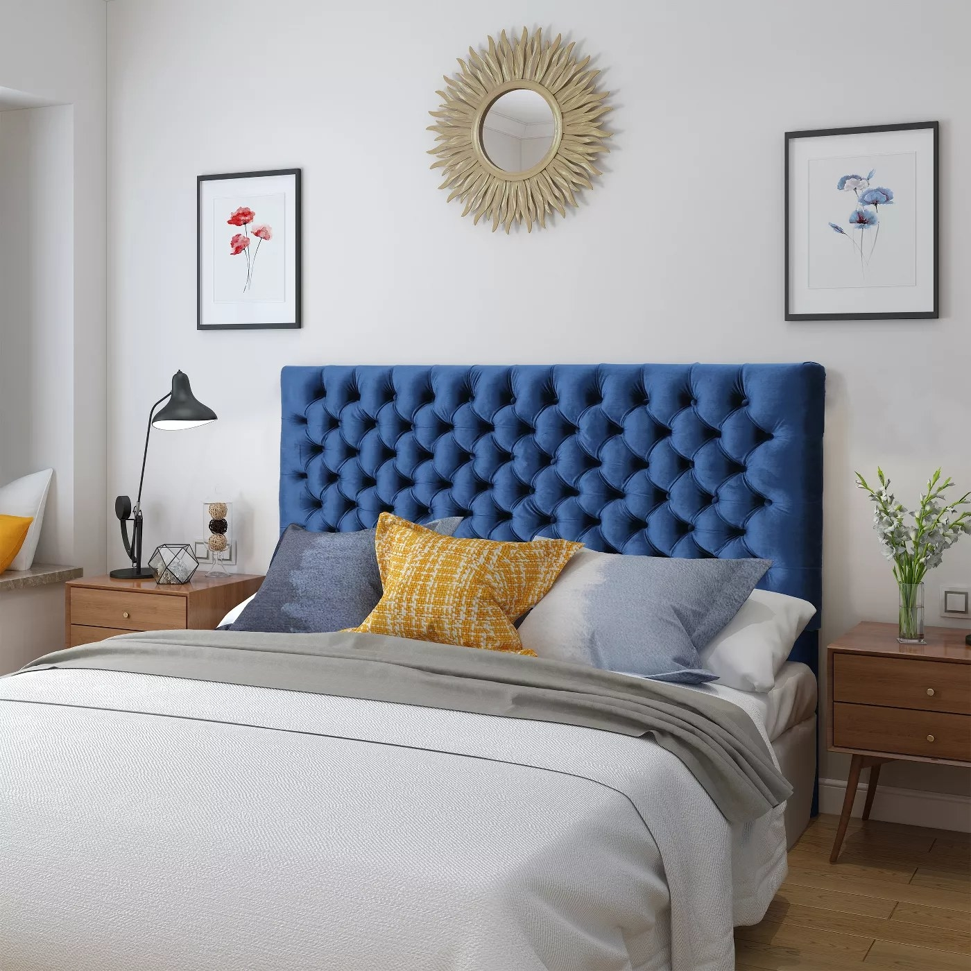 The tufted headboard in blue