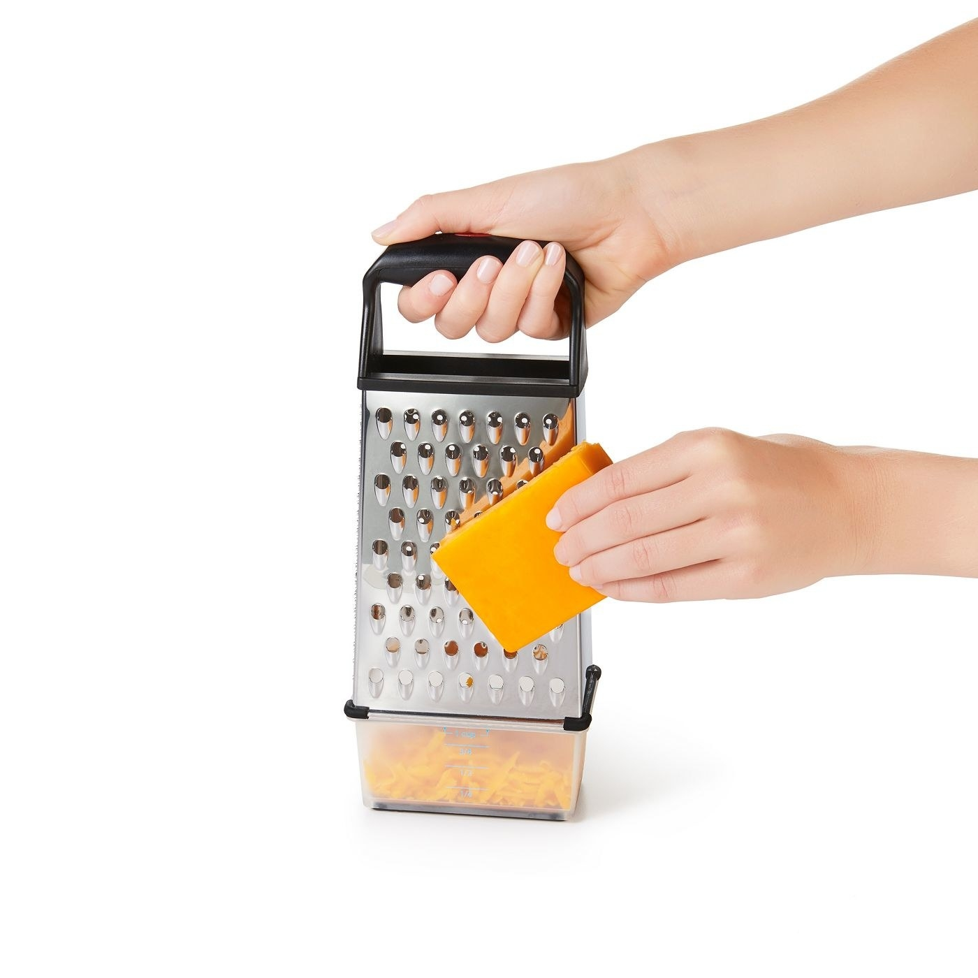 A model using a grater with a cup underneath