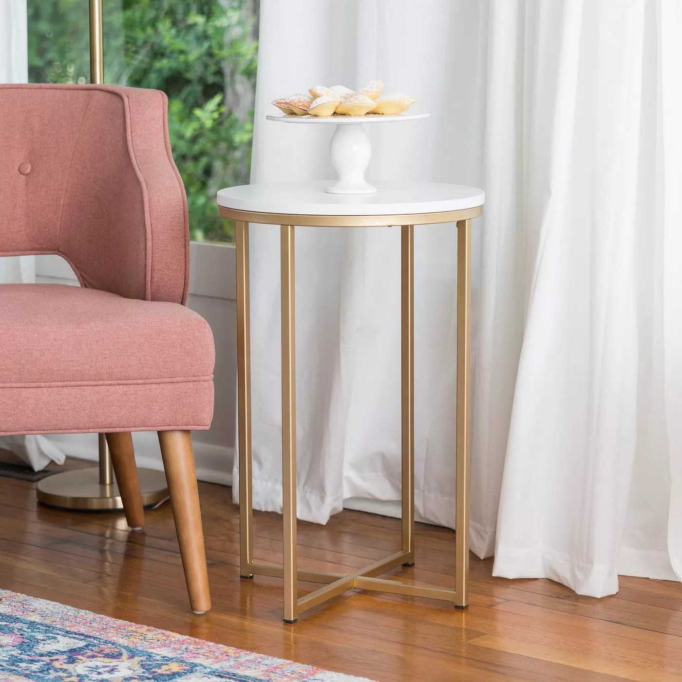 The faux marble and gold side table