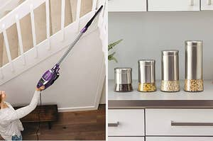 A stick vacuum and four food containers
