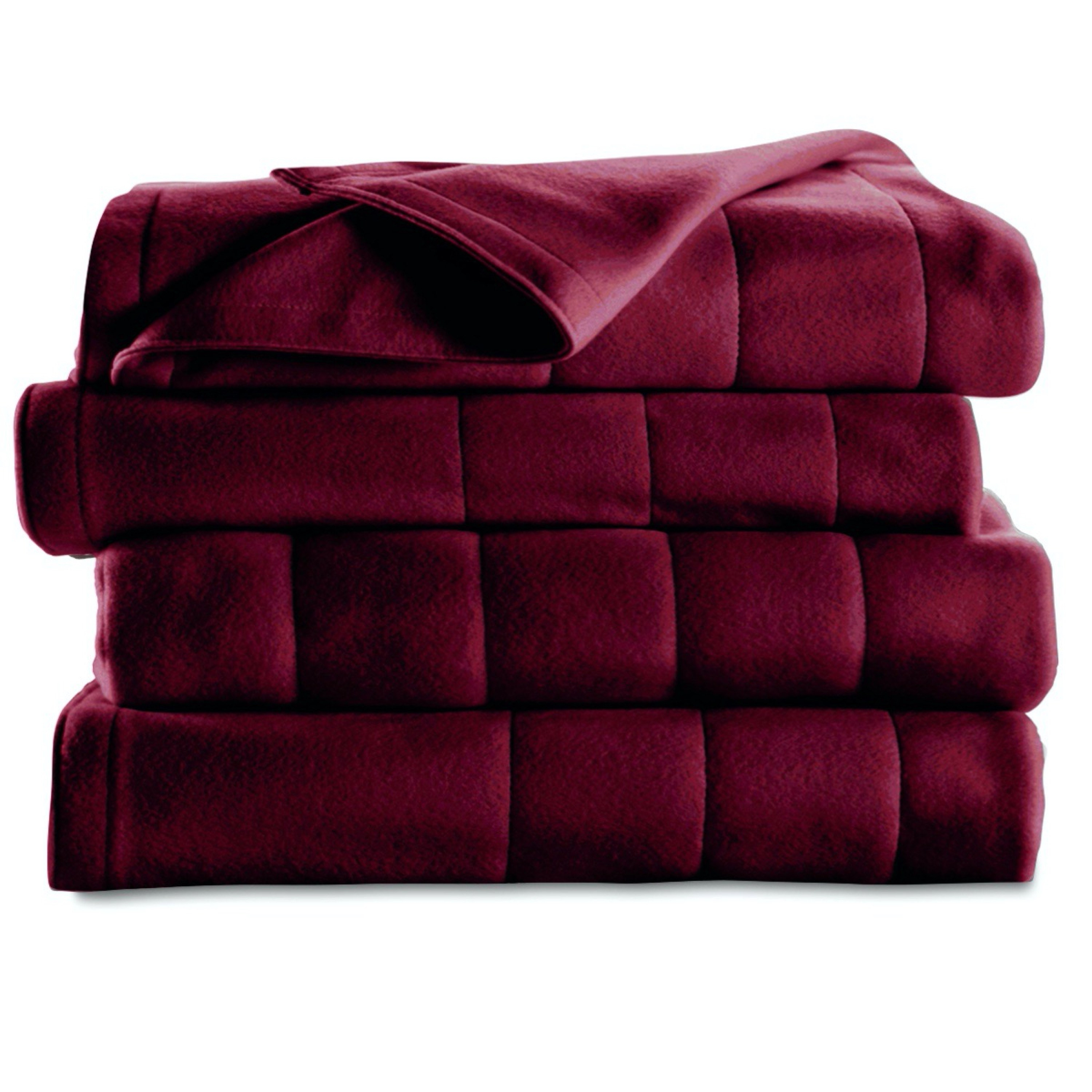 red heated blanket folded up