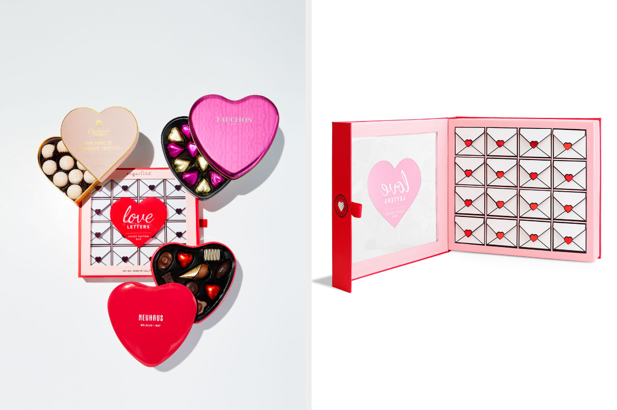 Split image of the candy box and its contents