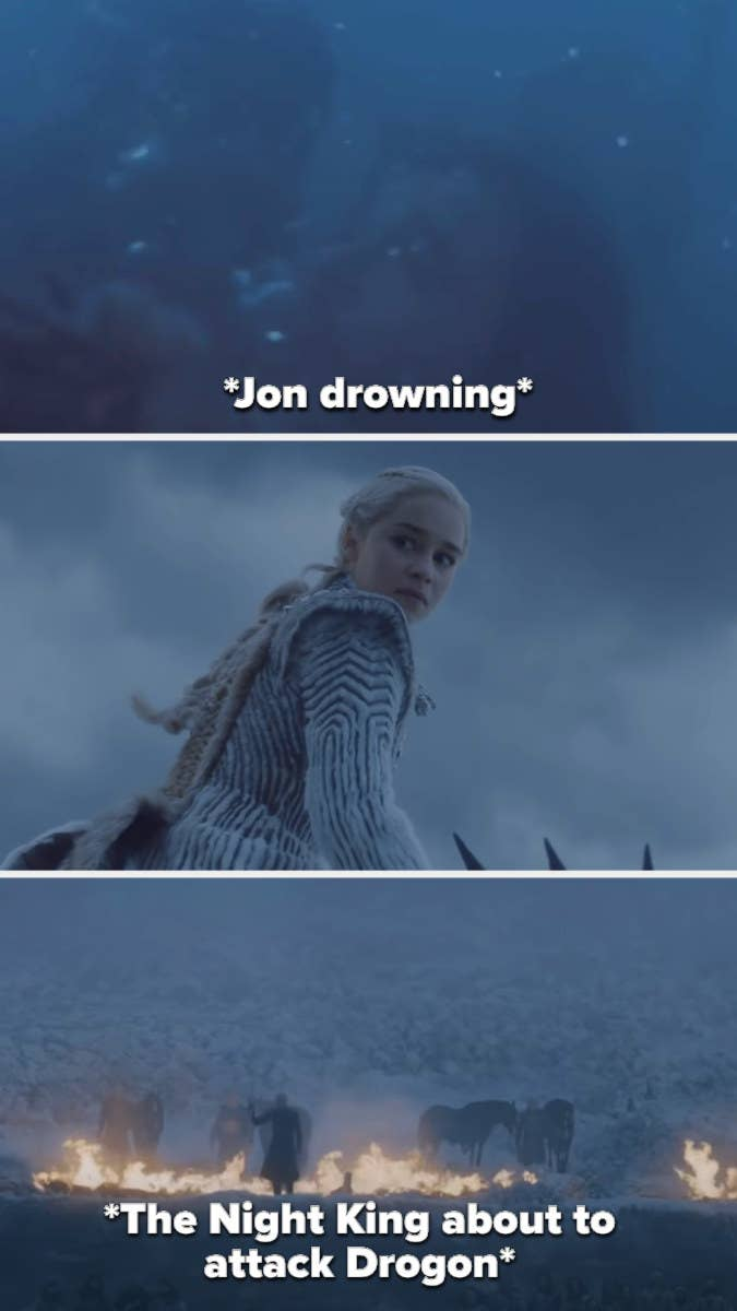 Jon is drowning as Daenerys waits, but she sees the Night King is about throw another spear at Drogon
