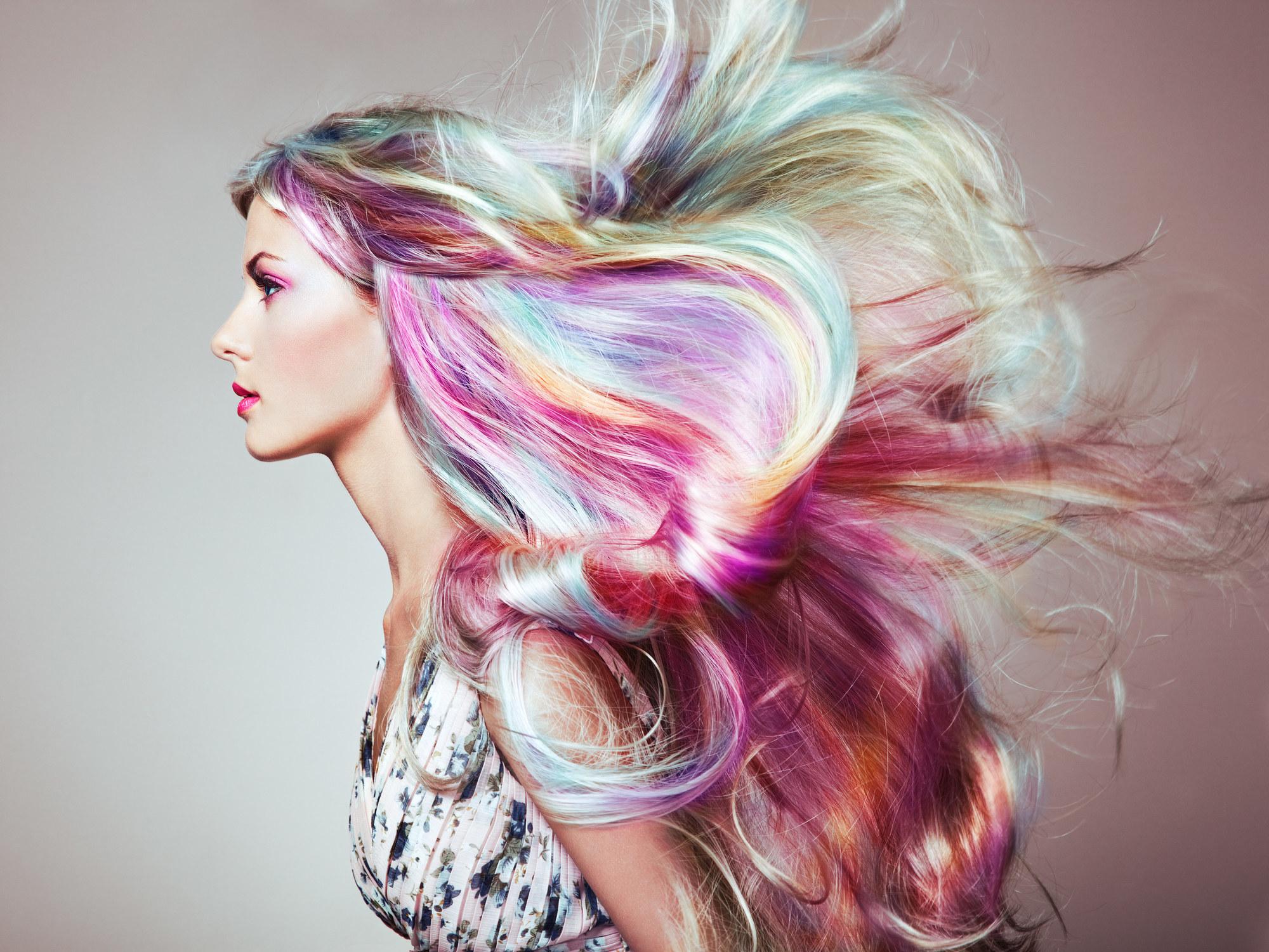A woman with rainbow hair