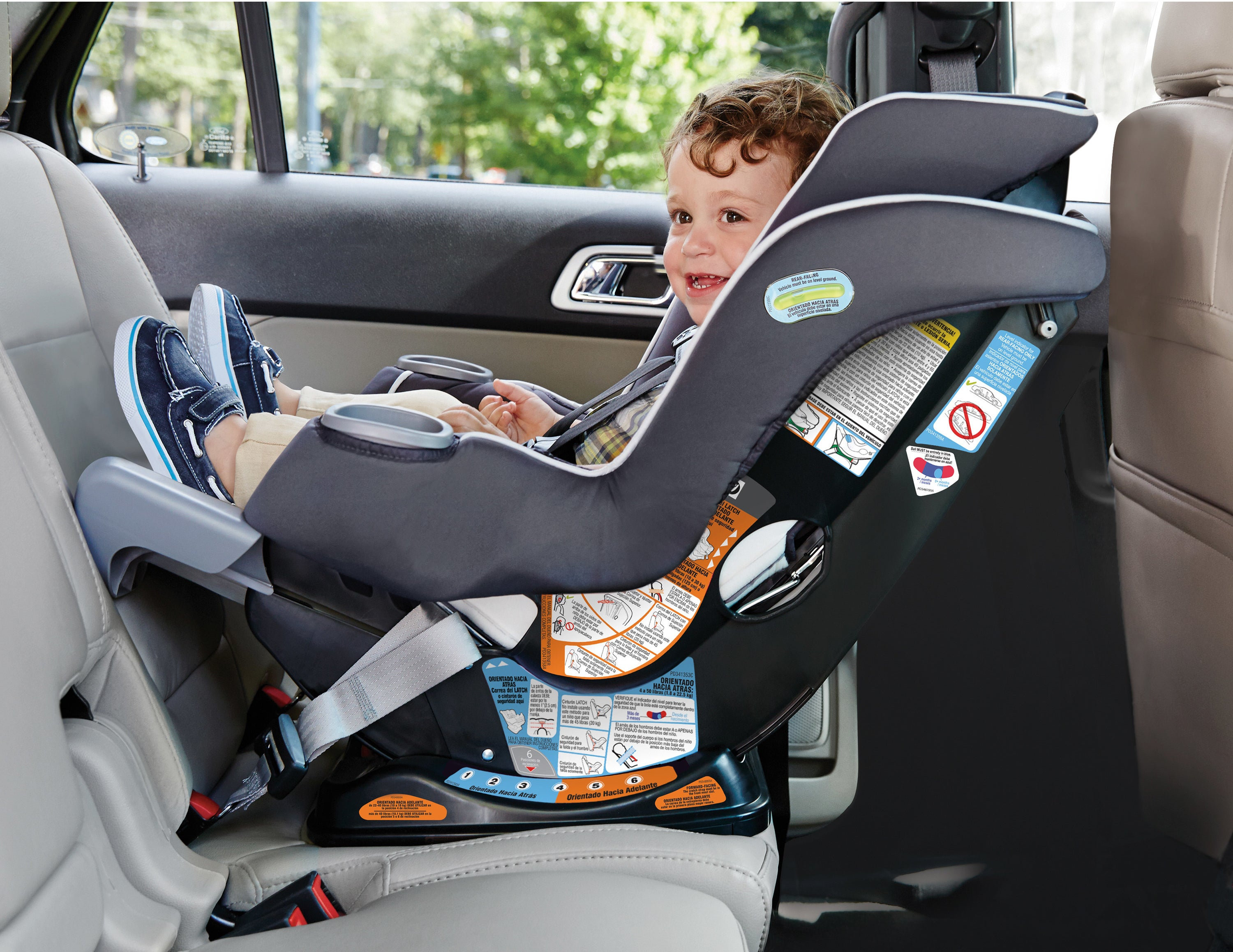 A child in the rear-facing car seat