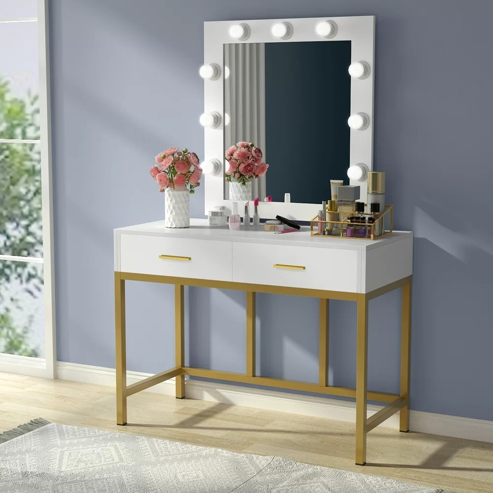The vanity table with lighted mirror turned on