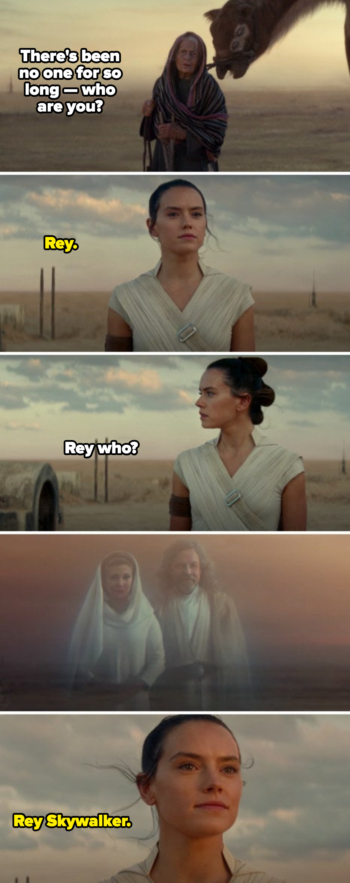 "Rey declaring her name is ""Rey Skywalker"" at the end of ""The Rise of Skywalker"""