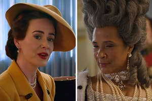 """Nurse Ratched is wearing a hat on the left with the queen from """"Bridgerton"""" on the right"""