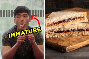"""On the left, Jason from """"The Good Place"""" with several lollipops stuffed in his mouth with an arrow pointing to him and """"immature"""" typed under his face, and on the right, a PB&J sandwich cut into triangles"""