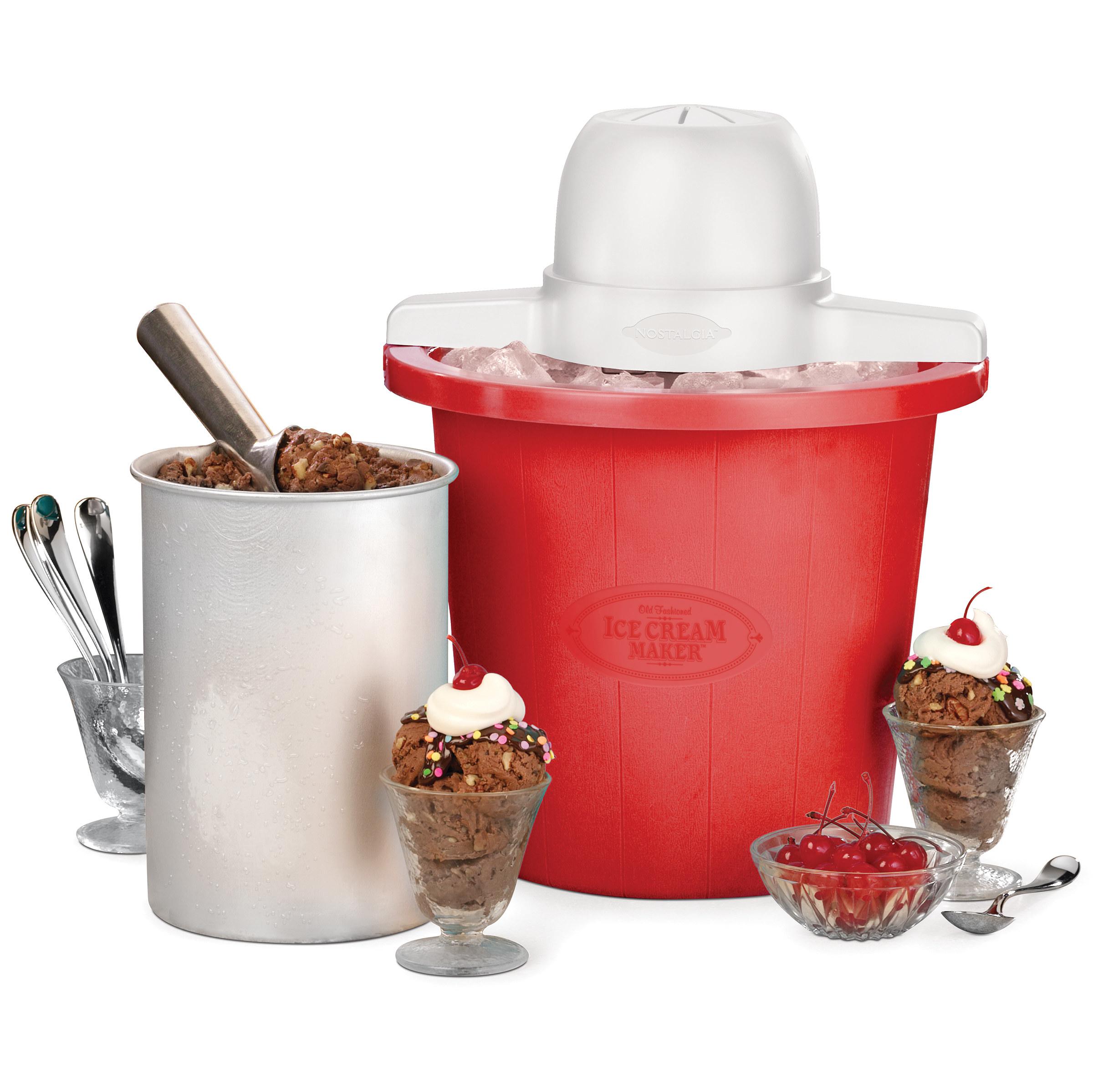 red ice cream maker with chocolate ice cream around it