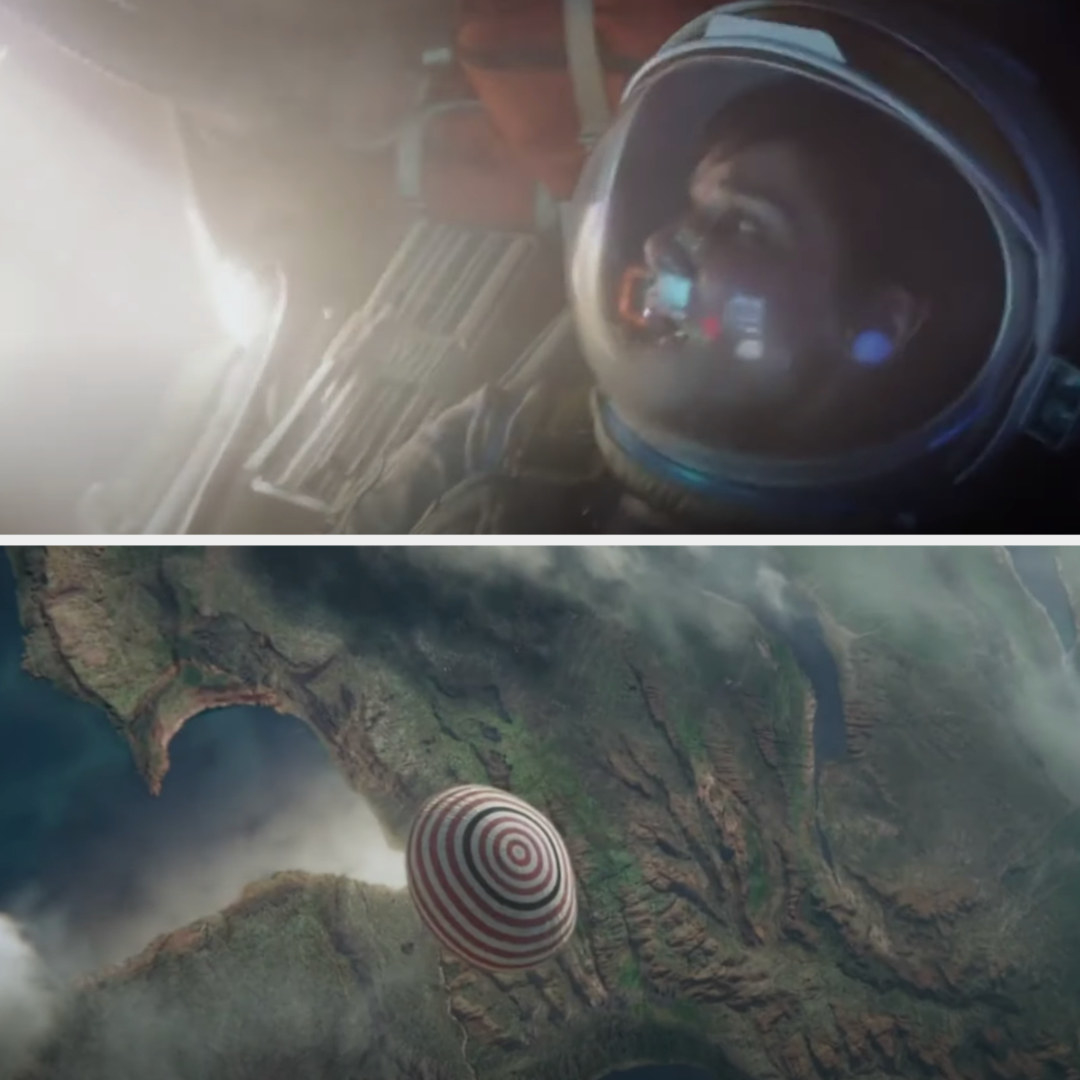 "Sandra Bullock flying down to earth at the end of ""Gravity"""