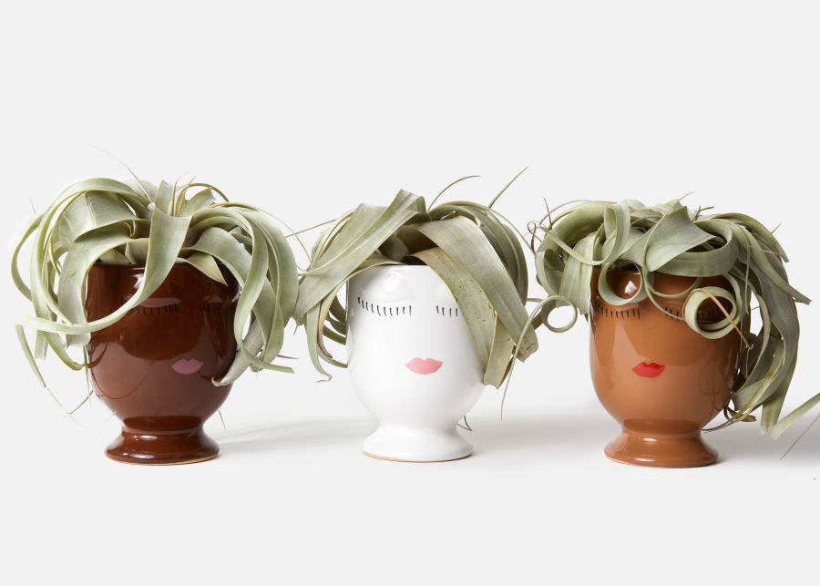 three different colored pots with faces on them with a succulent in it designed to look like hair