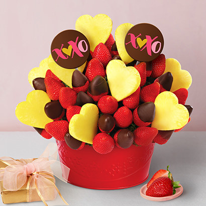 a bouquet made of chocolate dipped fruit