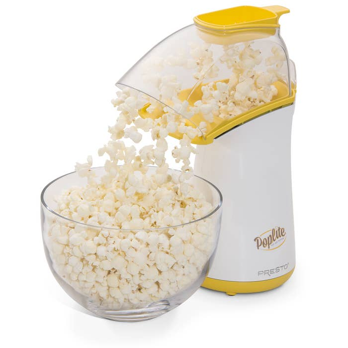 poplite popcorn maker with a bowl of popcorn underneath