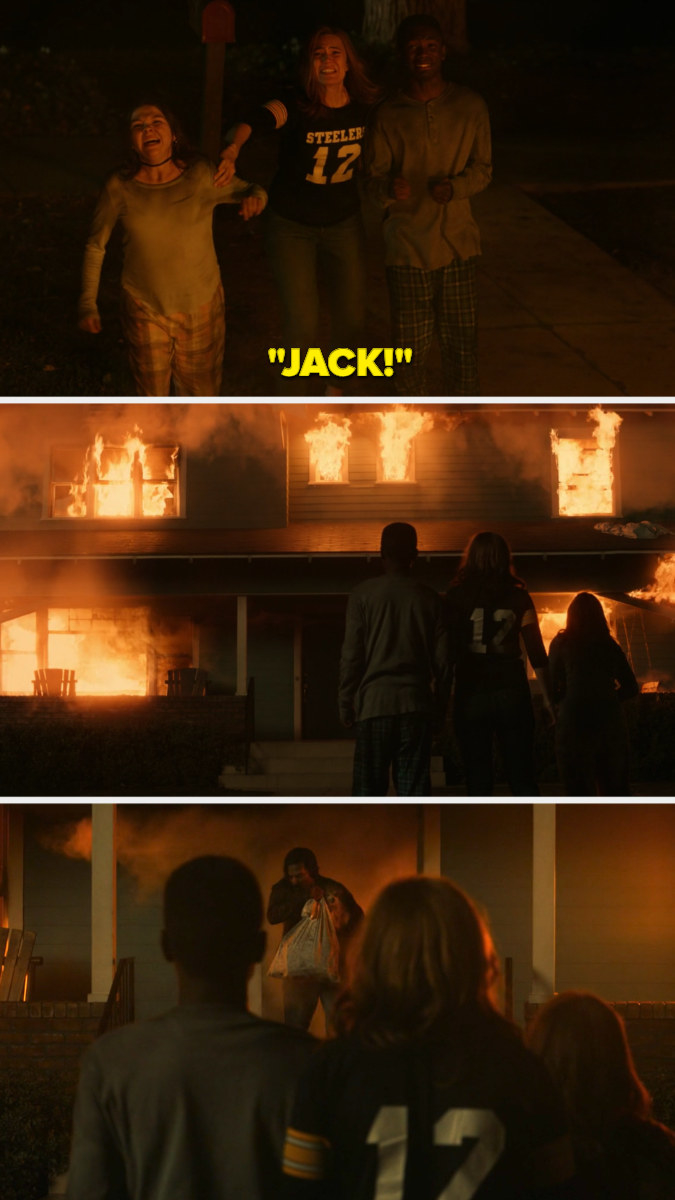 Rebecca, Kate, and Randall scream for Jack, watching the burning house, and the he comes out holding Kate's dog