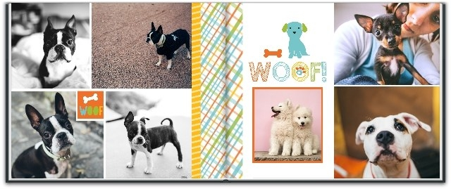 a two page spread of a dog themed photo album