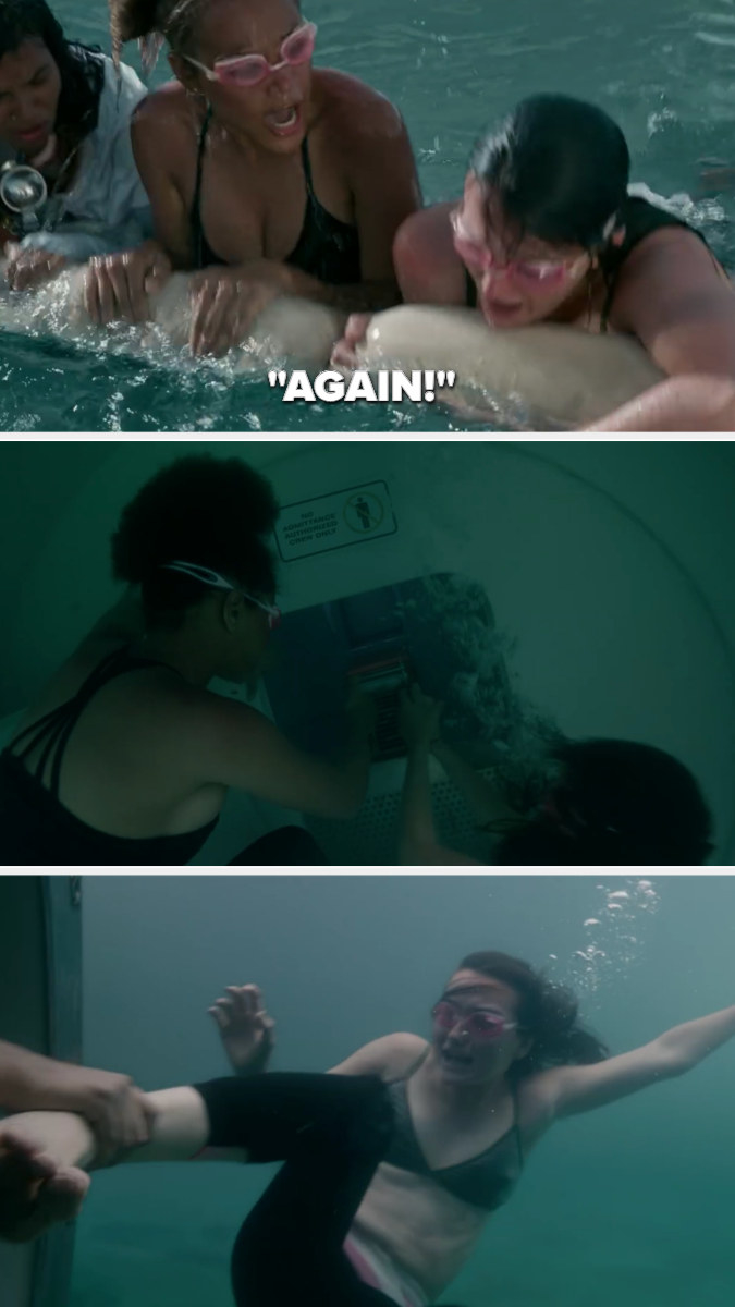 "Rachel yells ""AGAIN!"" then they dive down to the black box, and as Leah tries to swim away Rachel grabs her foot"