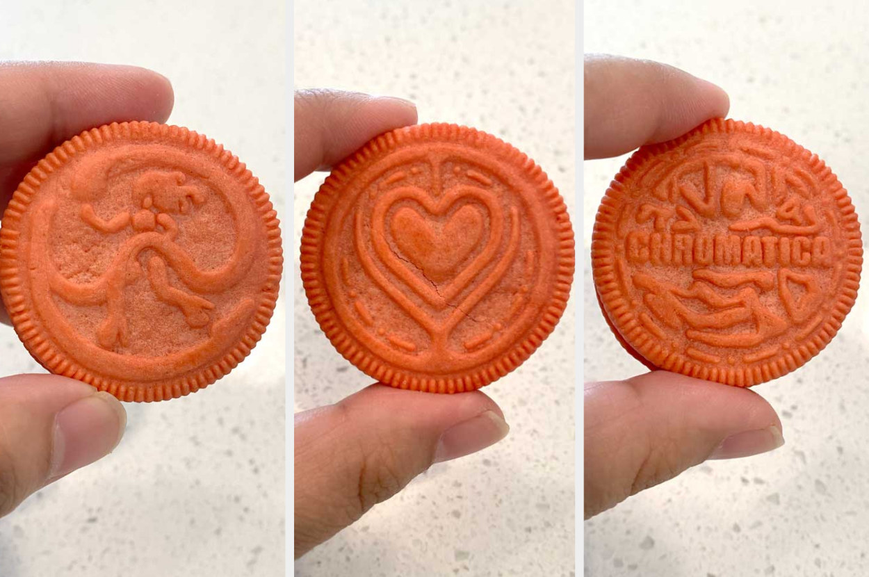 """Close up photos of the cookies: a woman surrounded by a swirling shape, a heart, and """"chromatica"""""""