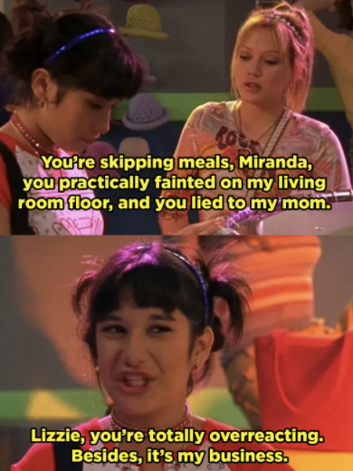 Lizzie confronting Miranda about her skipping meals