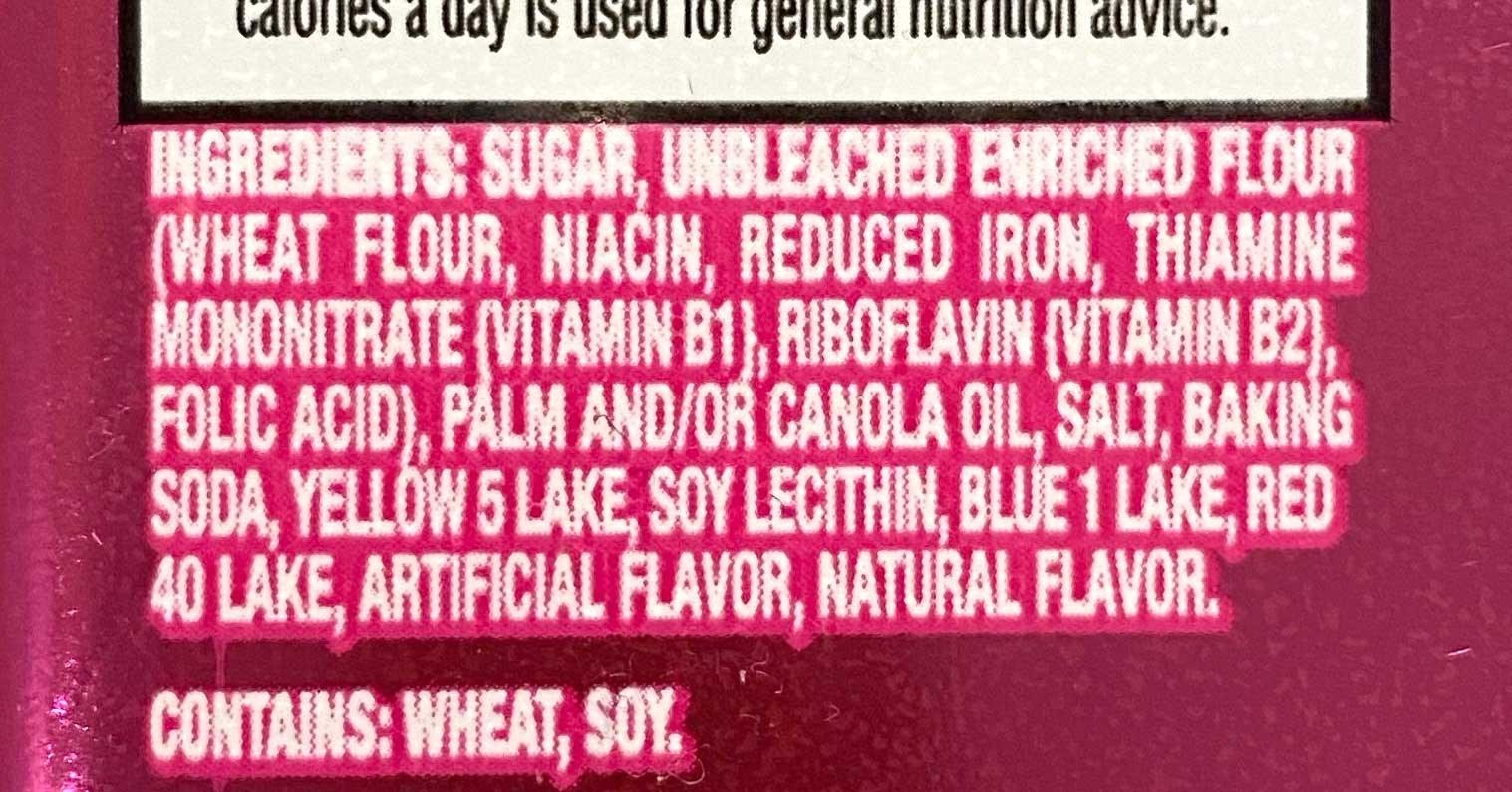 Ingredients of Oreos