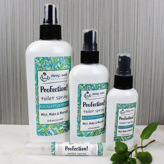 Four different-sized PooFection Eucalyptus Mint toilet sprays