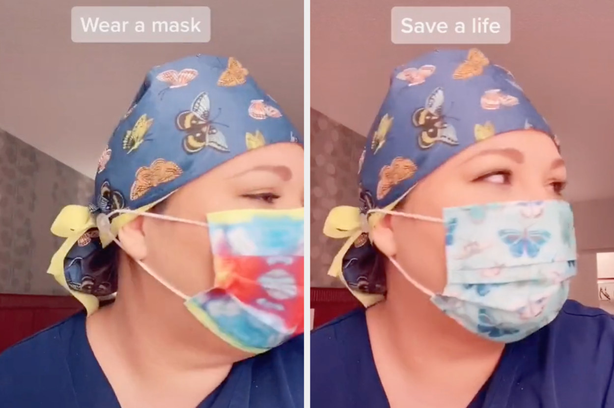 "Savanna wearing a mask, captioned ""Wear a mask. Save a life"""