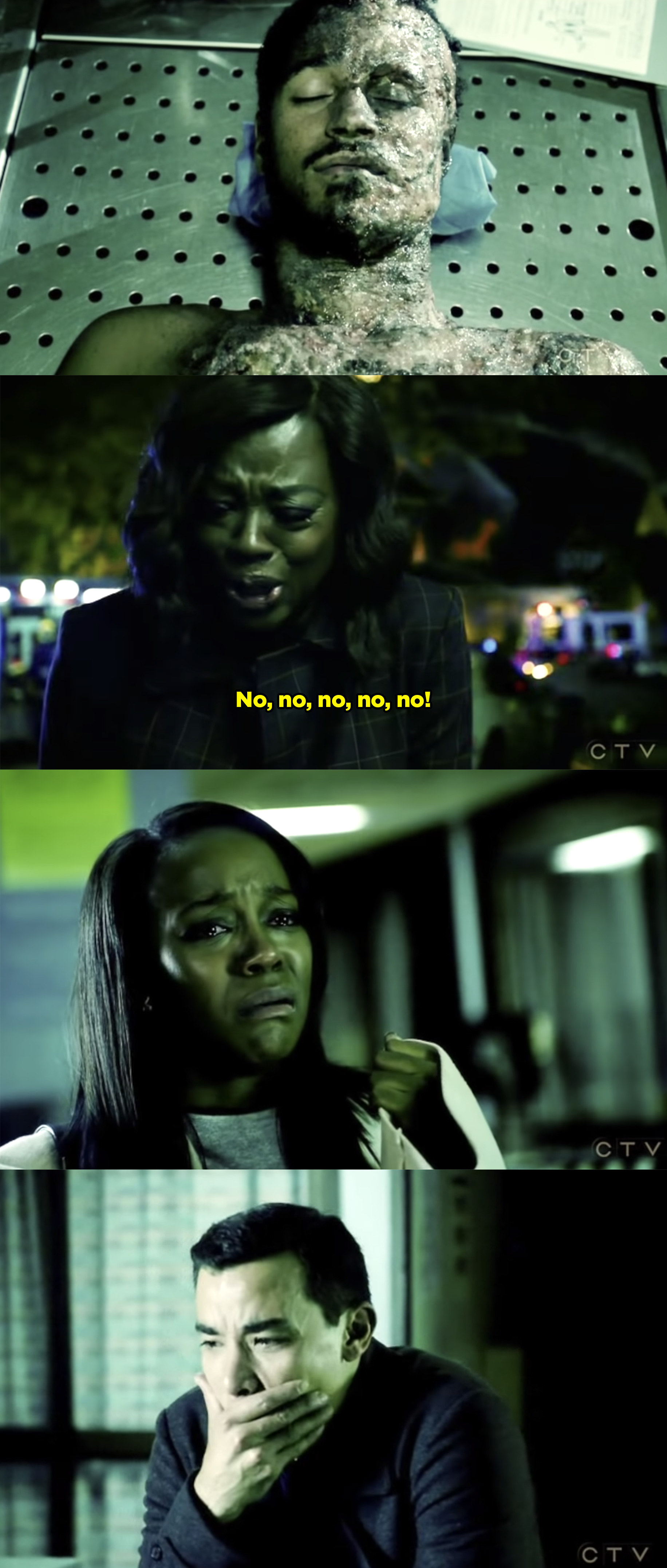 "Annalise crying for Wes and screaming ""No, no, no, no, no"" after she finds out he died."