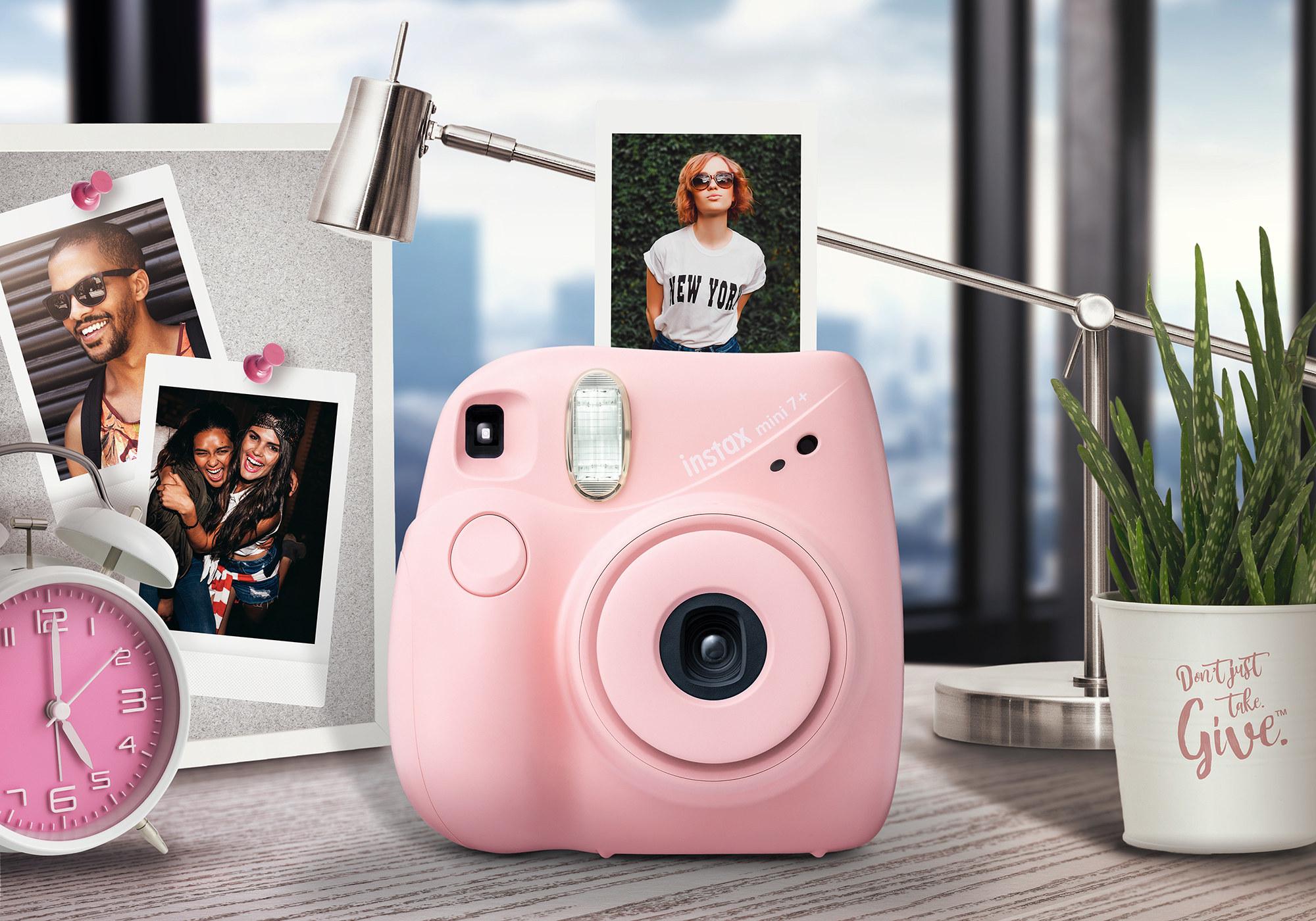 pink fujifilm instax instant camera