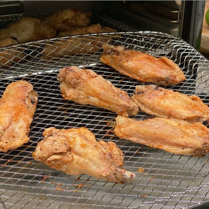 Crispy wings just out of the air fryer.