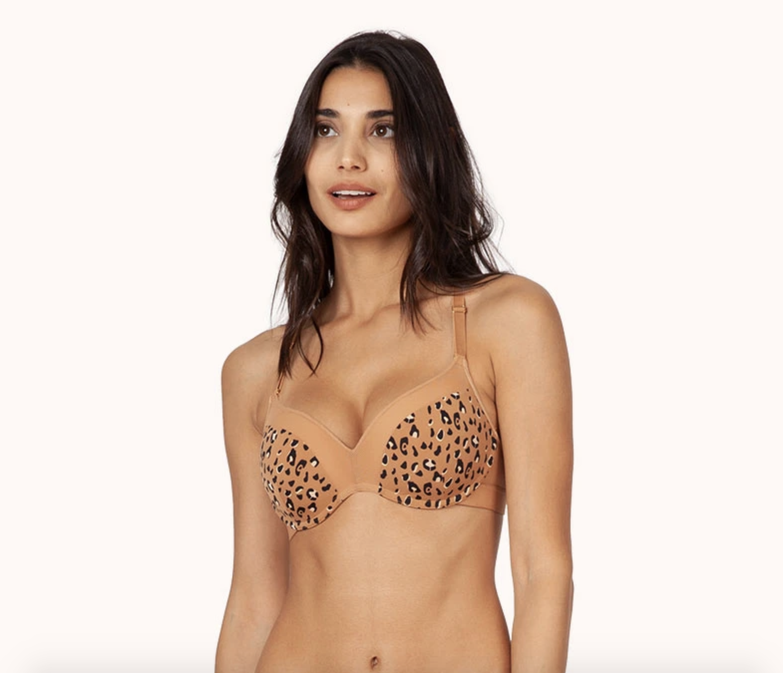 a model wearing the No-Wire Push-Up bra in latte leopard