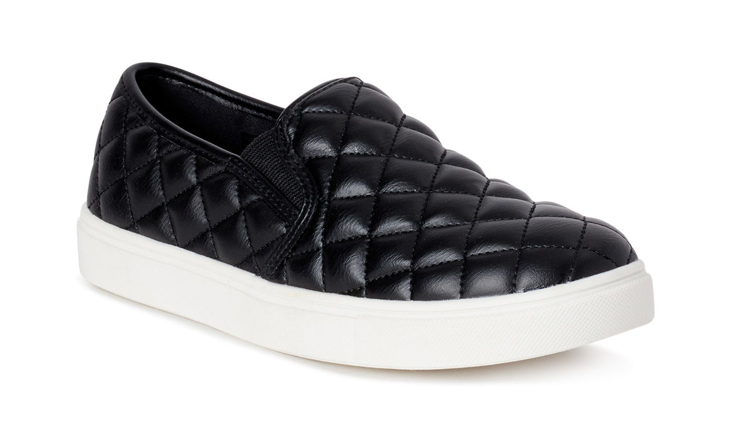 black quilted slip-on sneaker with a white sole