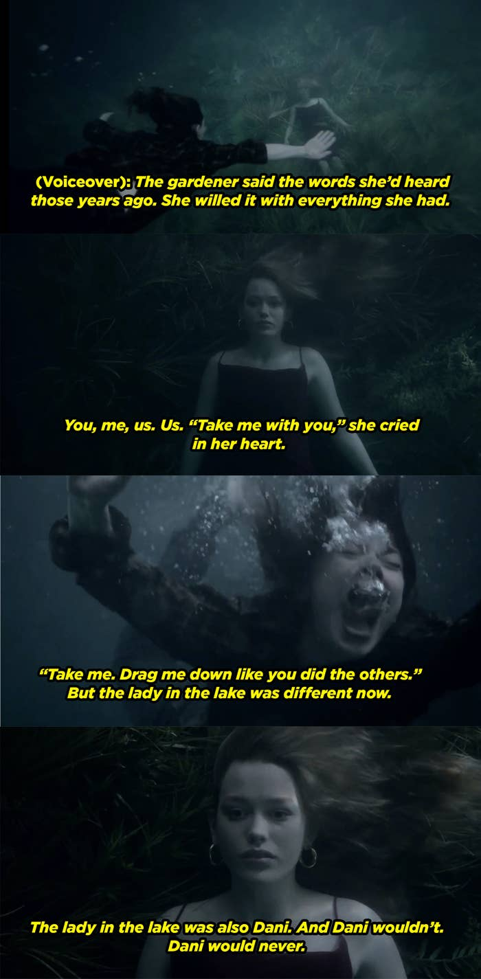The narrator explaining how Dani became the lady in the lake and Jamie begged to take her place