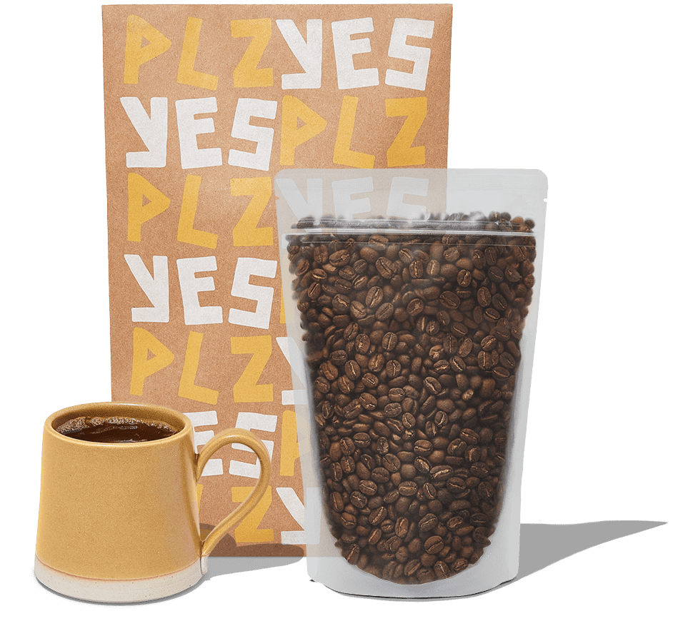 a package of beans and a mug of coffee