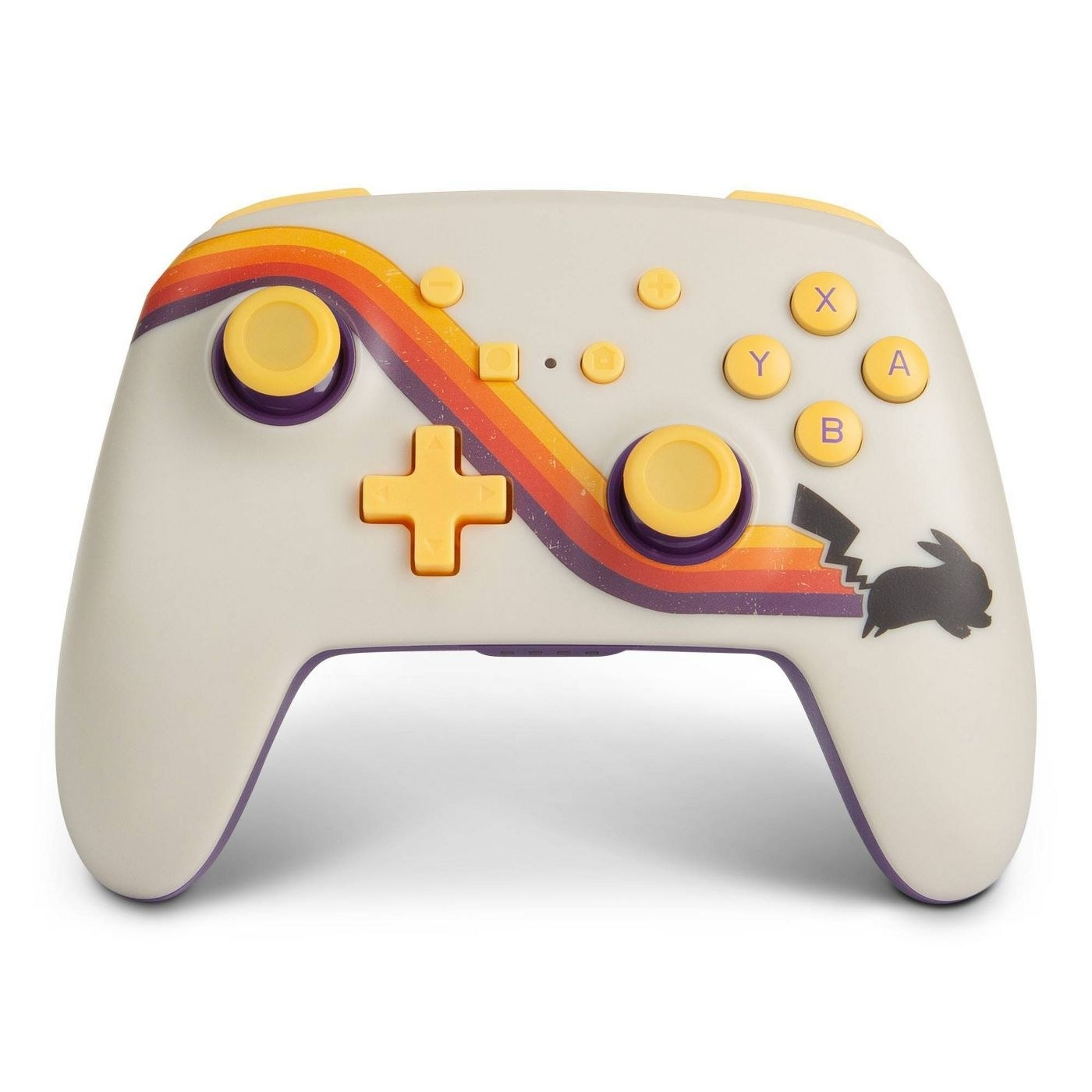 The controllers, which has a retro-style swoosh and a Pikachu profile design