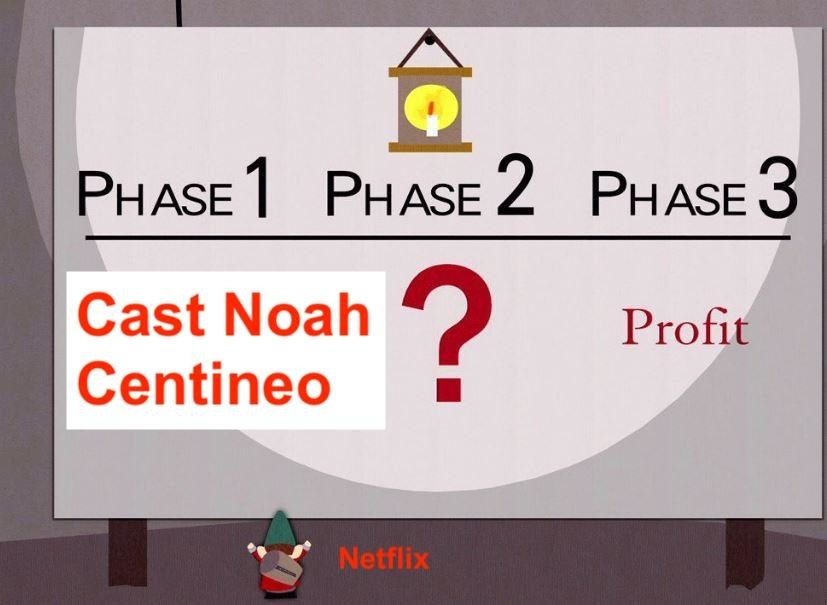 "An animated graphic that labels ""Cast Noah Centineo"" as Phase 1, a question mark under Phase 2, and Profit under Phase 3"