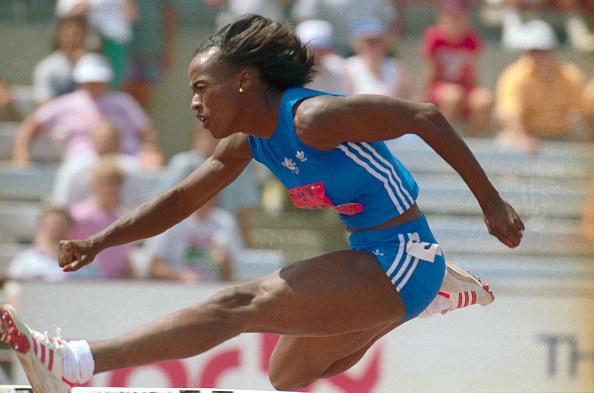 Jackie Joyner hurdling