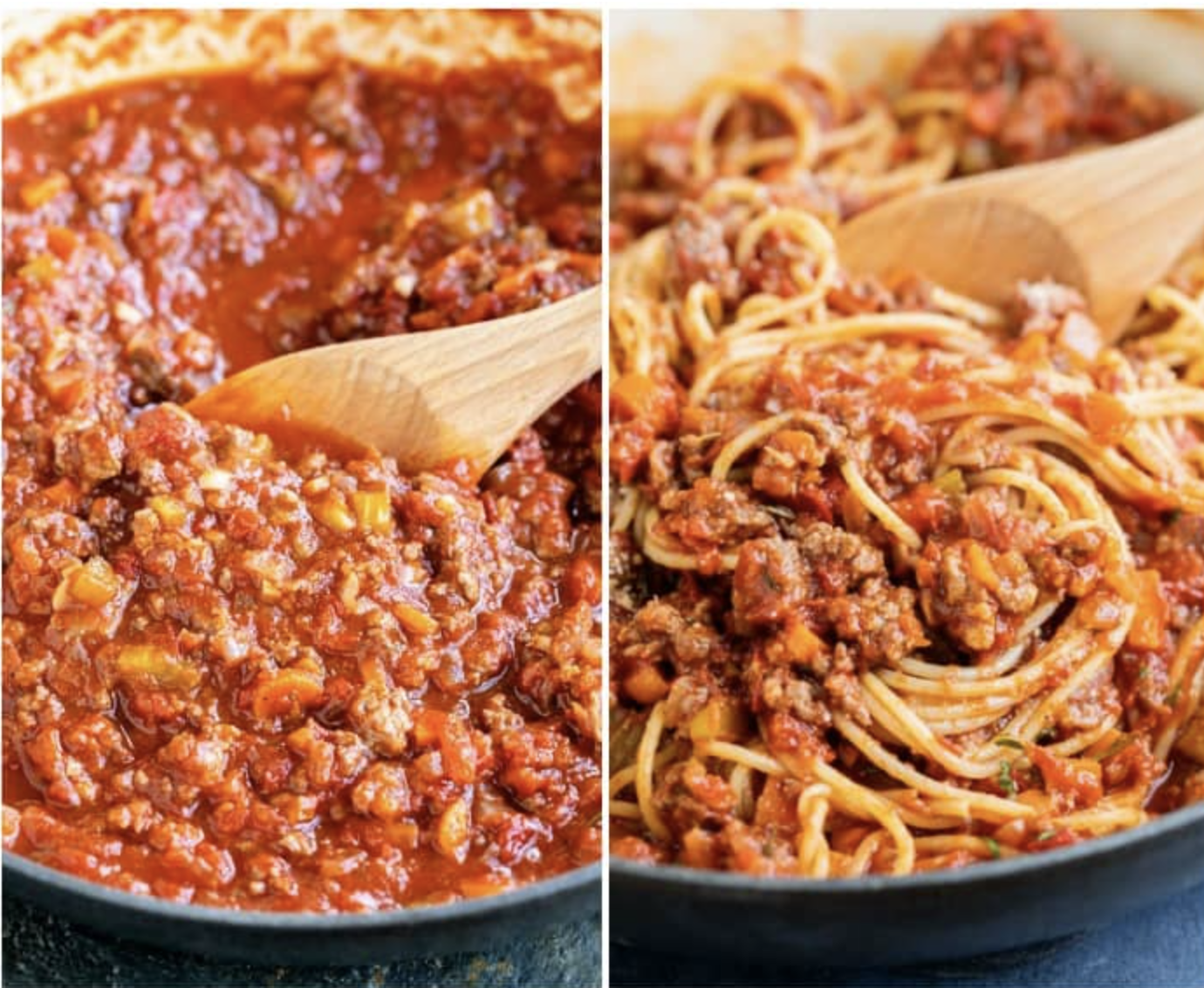 Spaghetti bolognese being stirred in a pan