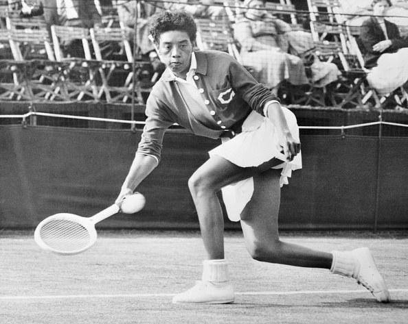 Althea Gibson playing tennis