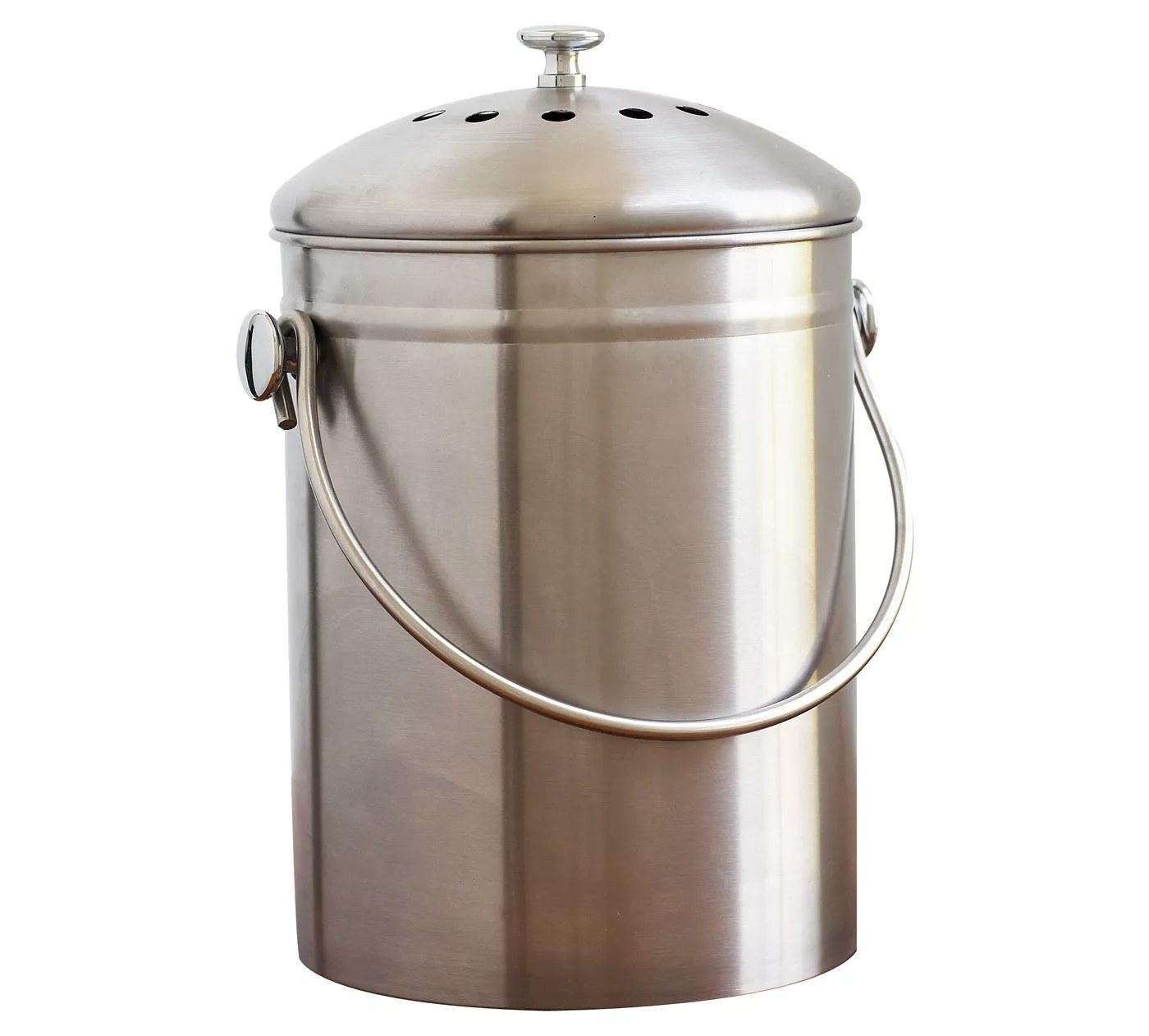 The silver compost bin