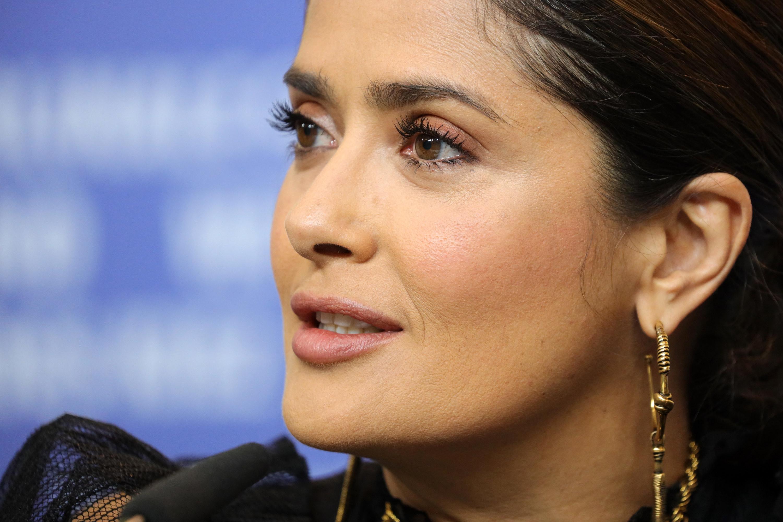 Salma Hayek speaks at The Roads Not Taken press conference at the Berlin Film Festival