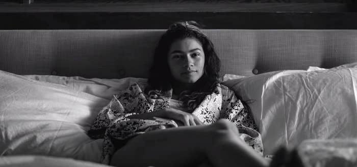 Zendaya reclines in bed in Malcolm & Marie