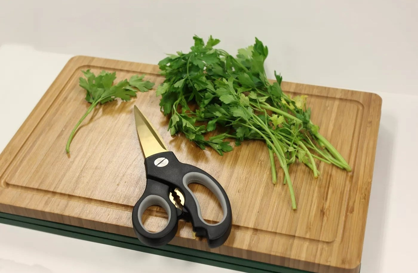 The black and gold kitchen shears