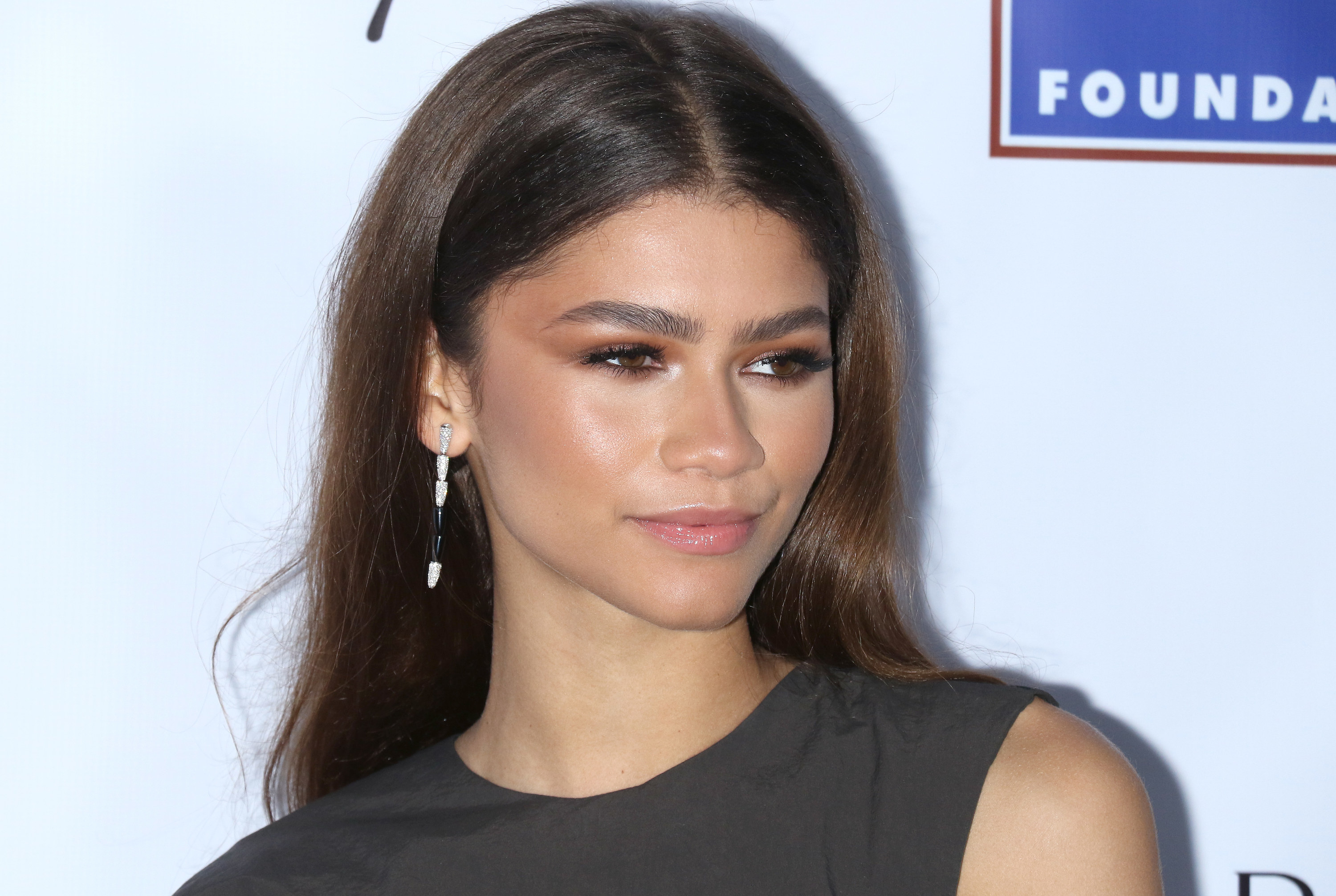 Zendaya in a black dress at the 2020 AAA Arts Awards