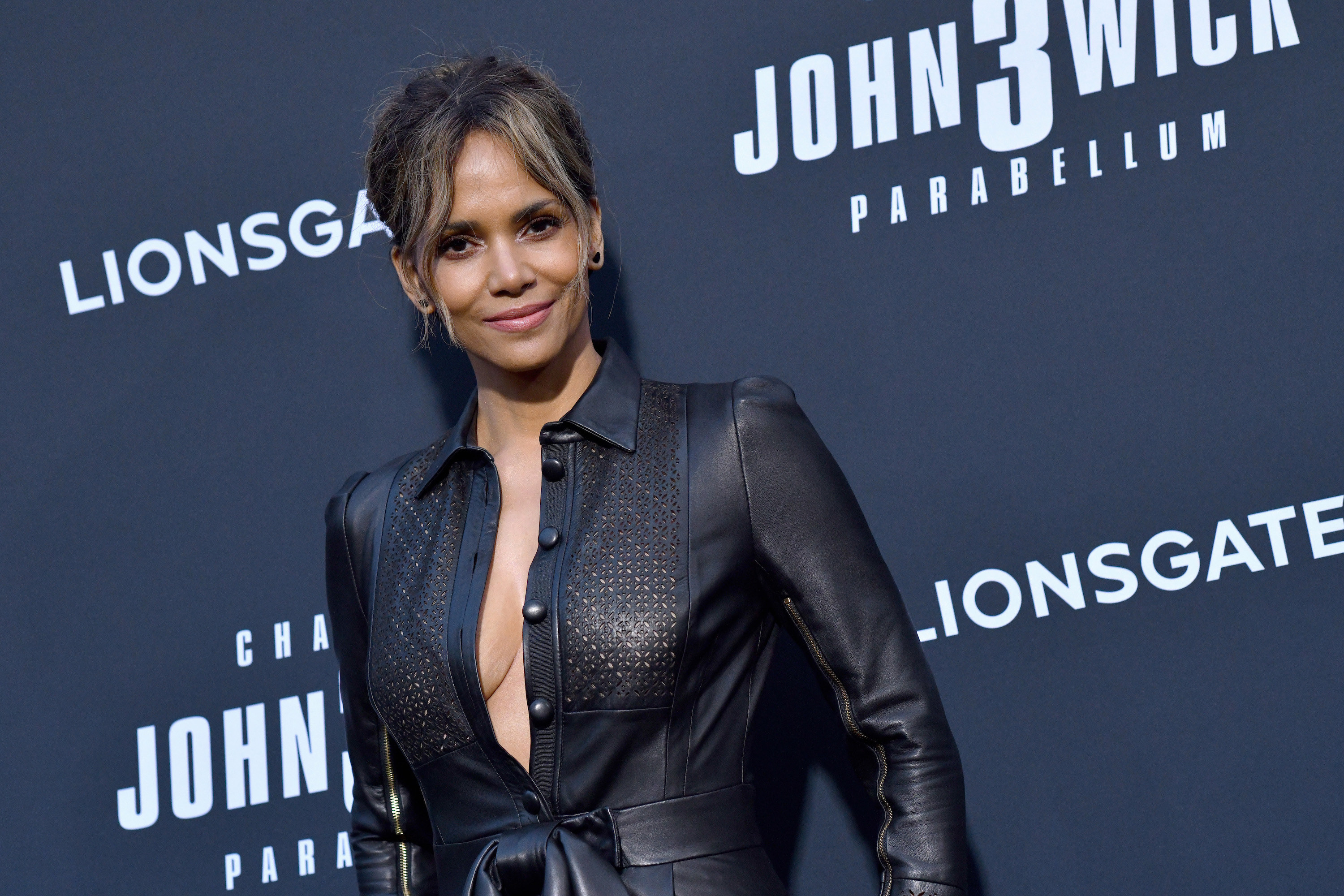 Halle Berry wears a black outfit while attending a special screening of Lionsgate's John Wick: Chapter 3 - Parabellum on May 15, 2019 in Hollywood, California